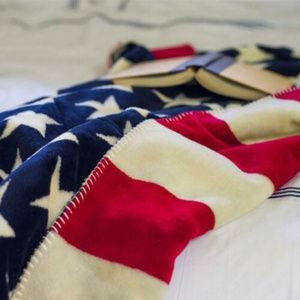 USA Patriotic Star/Stripes Throw Blanket, 50 x 60